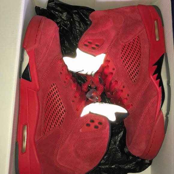 Red Suede Jordan 5s | Poshmark
